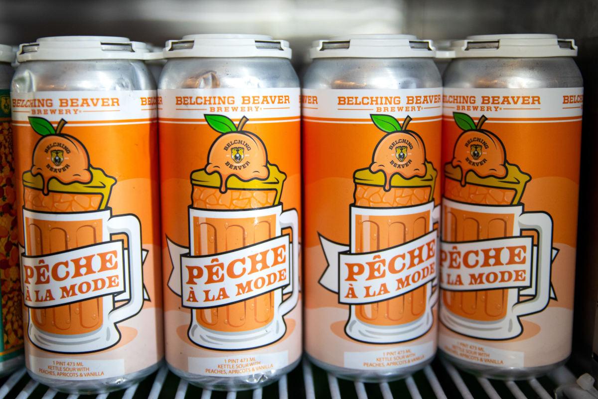 peach beverage cans