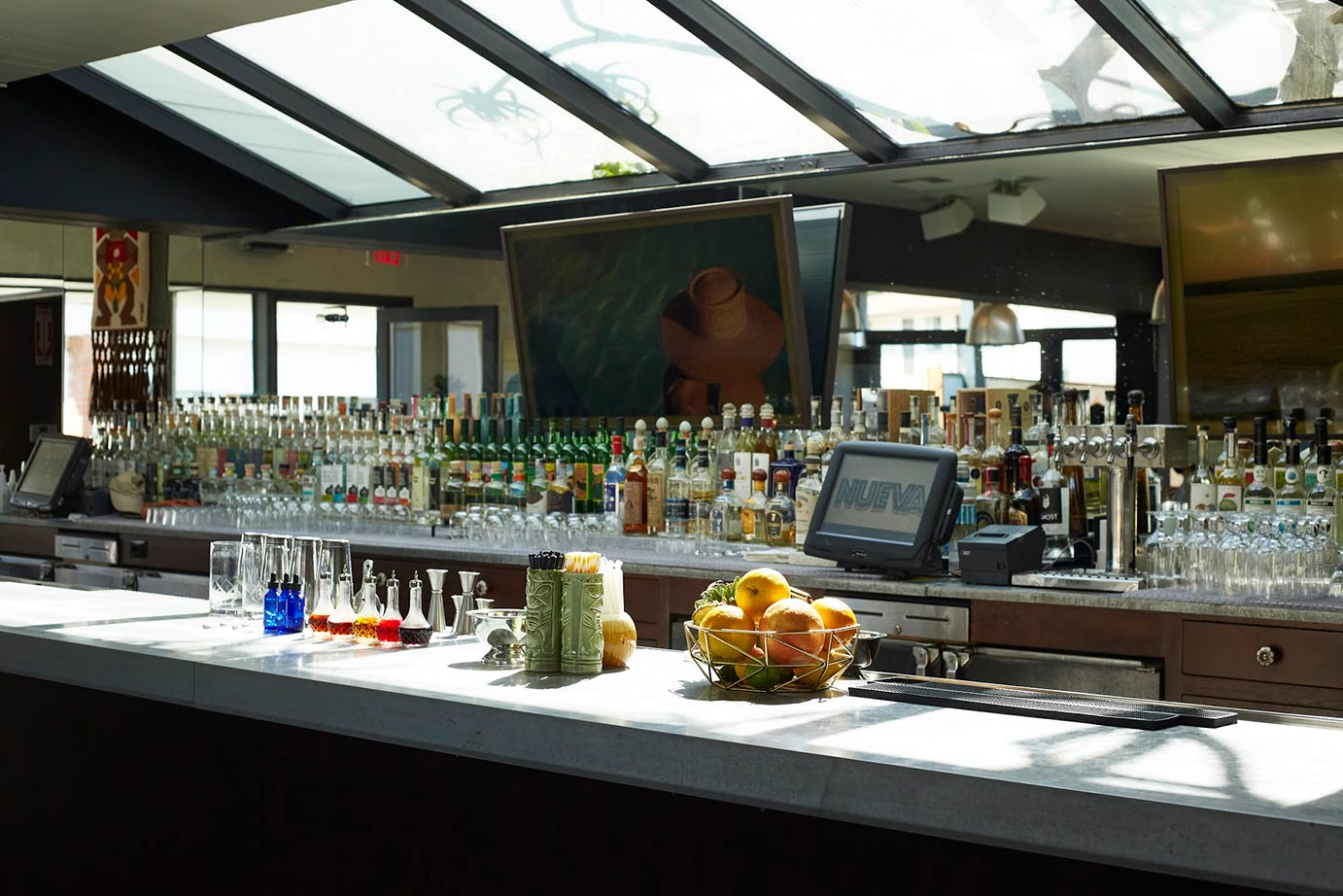 The bar inside a restaurant