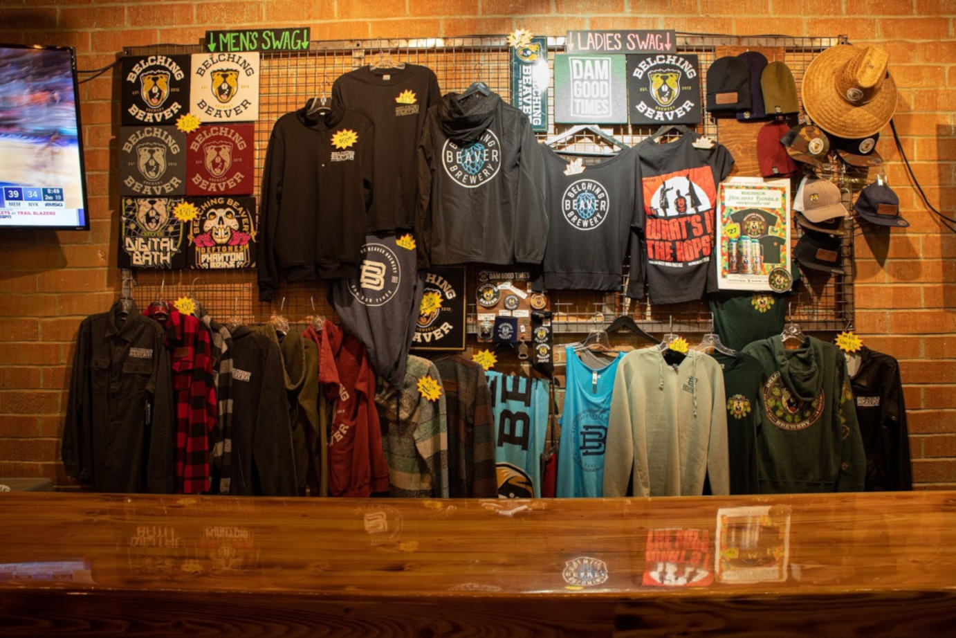Interior, a wall with clothing for sale