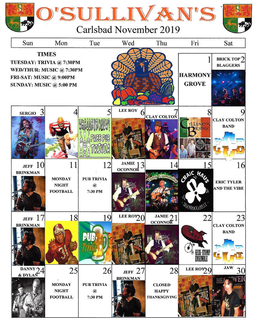 november music calendar