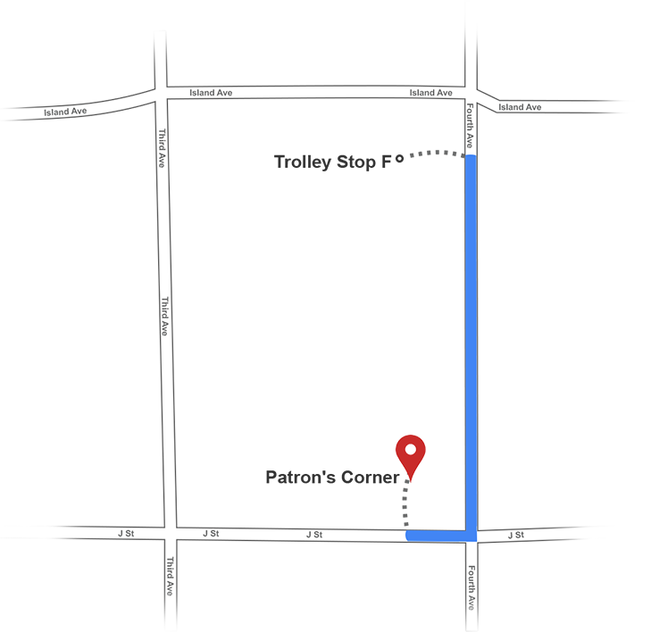 trolley stop f direction map