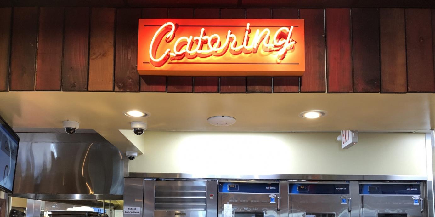 Catering neon sign and lights