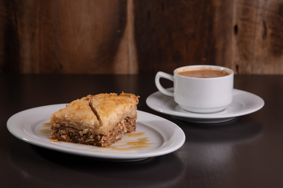 house baklava pie withgreek coffee