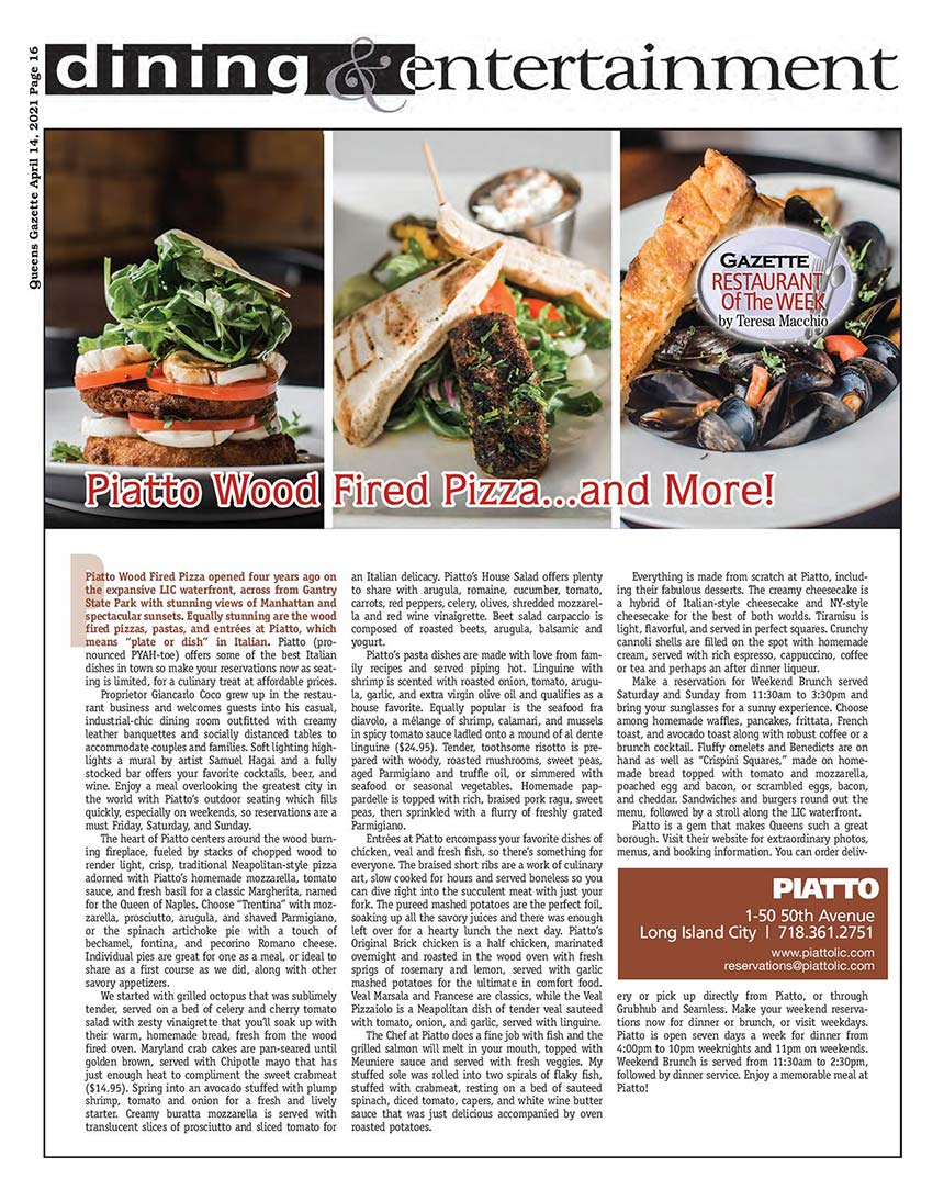 restaurant of the week article