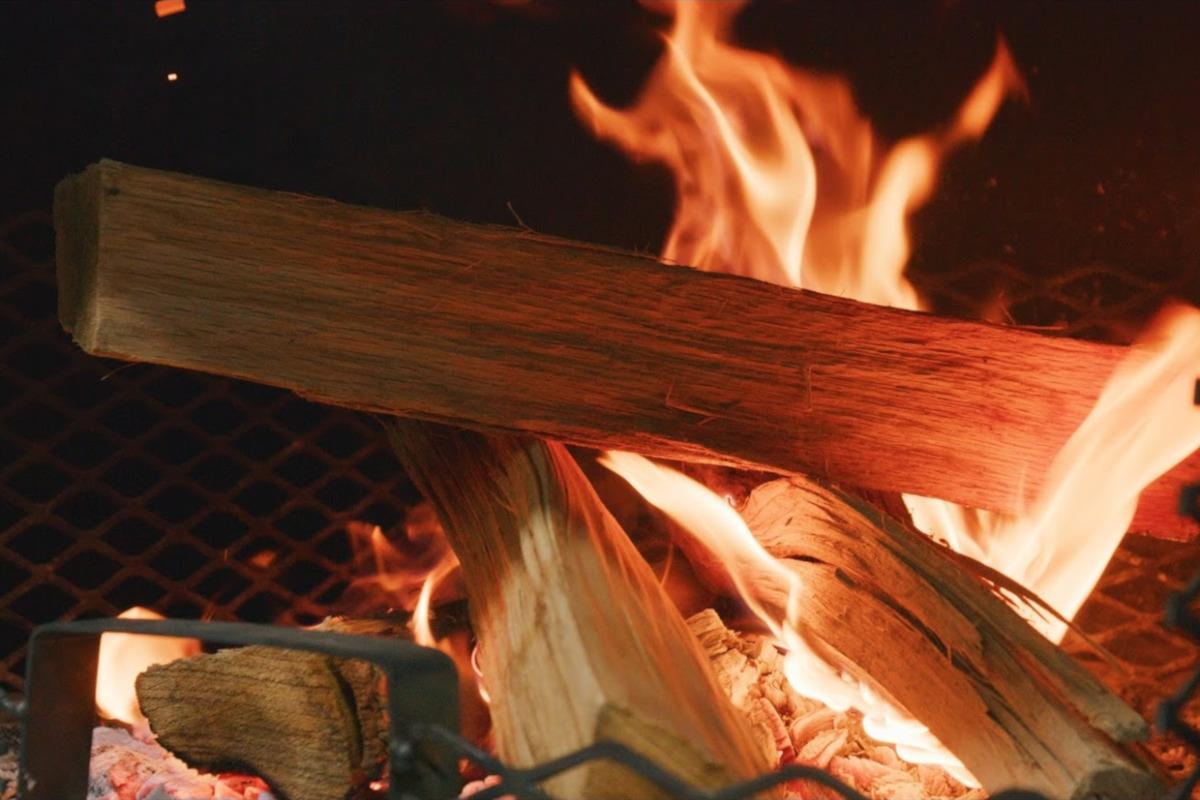 Firing wood, closeup