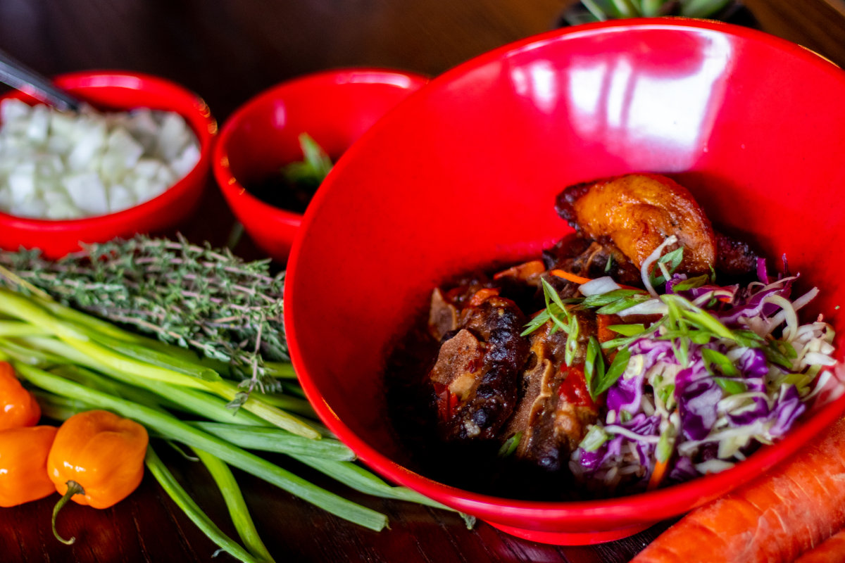 ox tail bowl and spices
