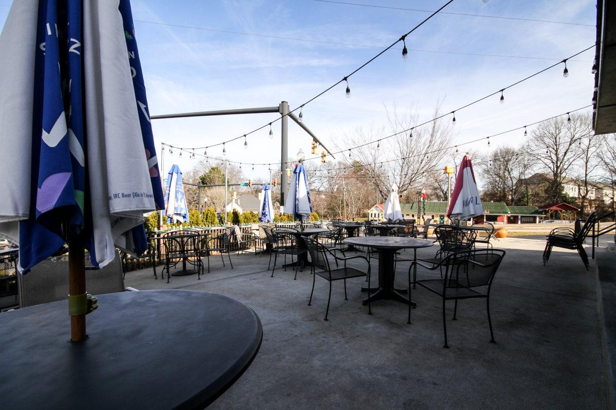 outdoor patio, parasols, tables