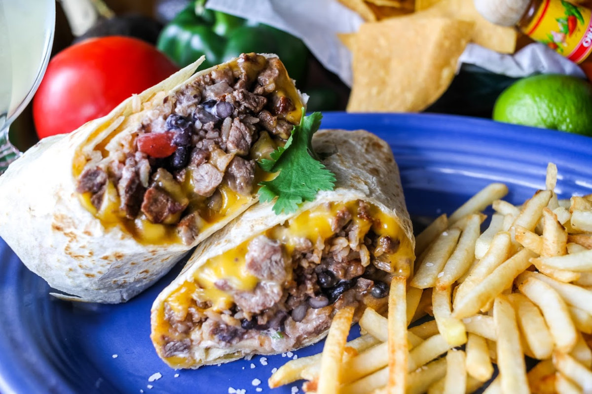 Two burritos and fries