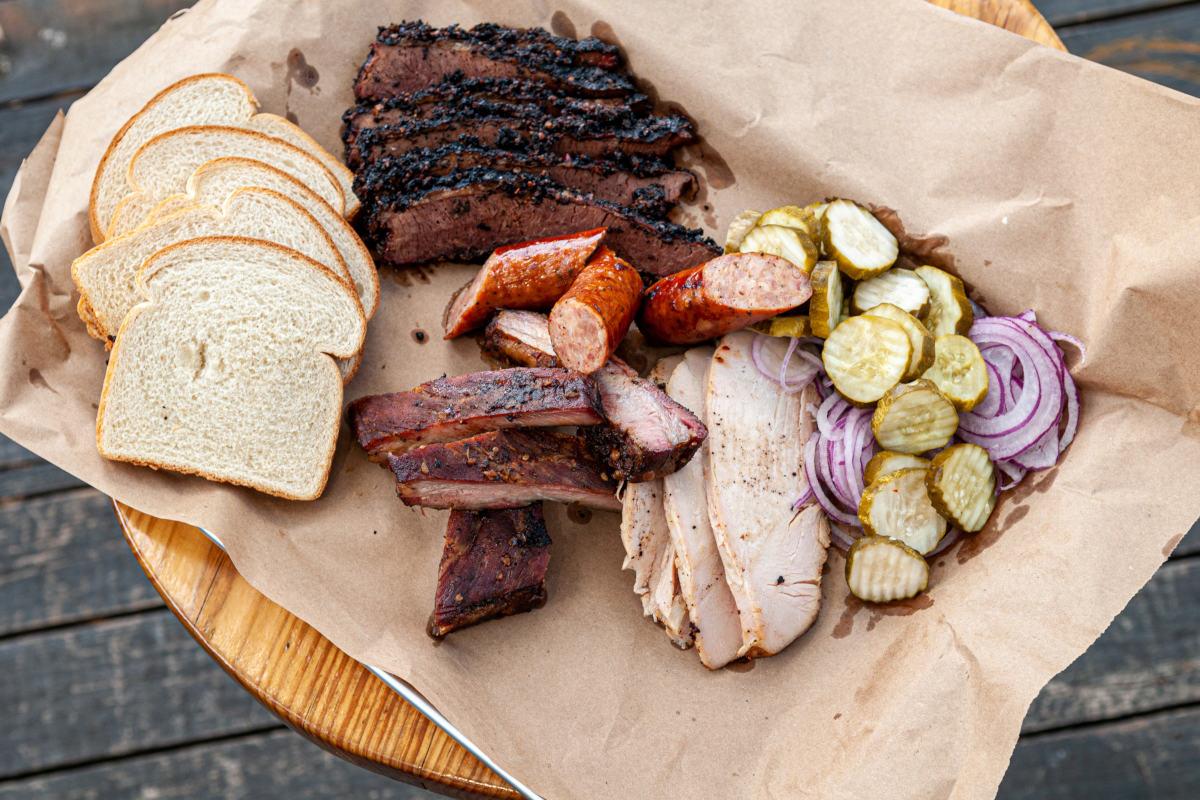 brisket, st. louis pork ribs, smoked turkey sausage