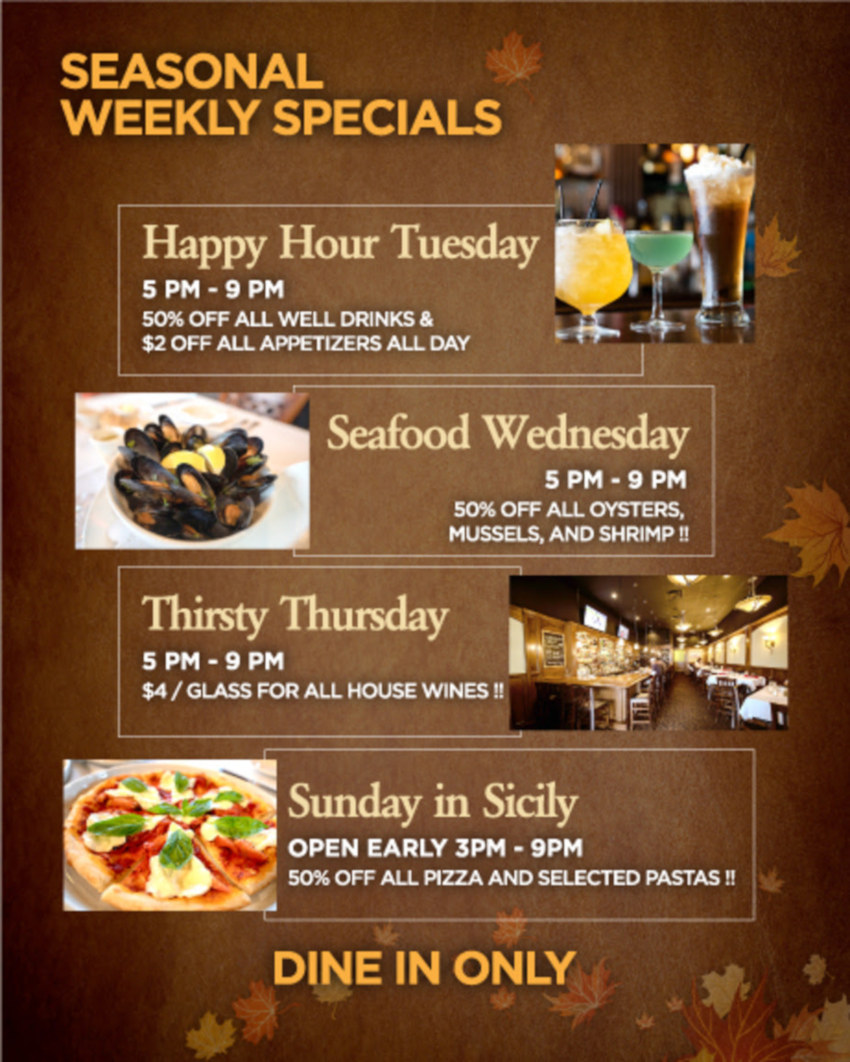 seasonal weekly specials