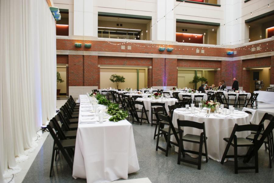 Exterior, set tables, wedding decoration