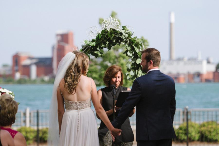 Wedding in progress on the balcony