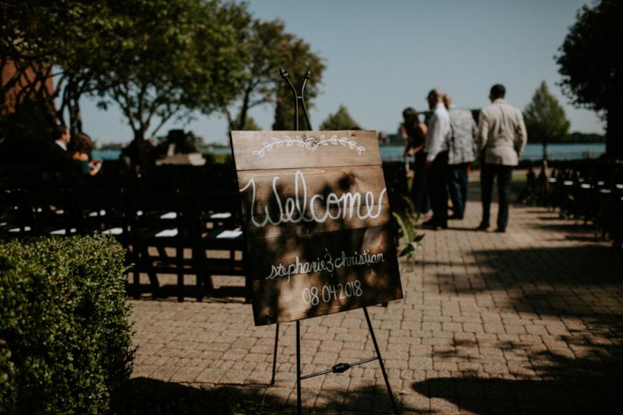 Wedding reception, path view