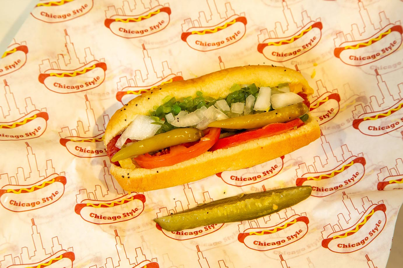 Hot Dog with pickles and onion