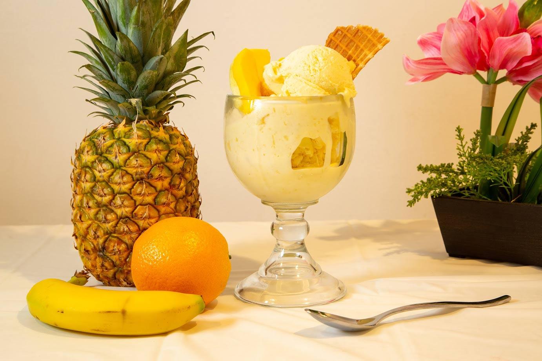 Ice Cream with pineapple, banana, and orange
