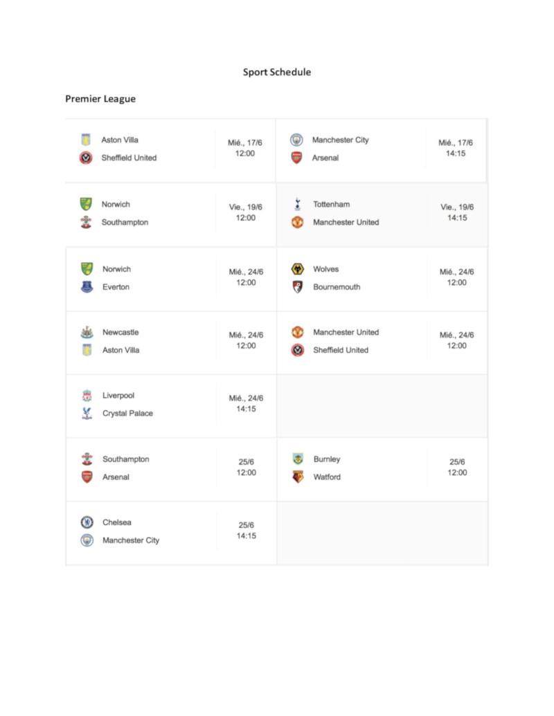sport schedule 1