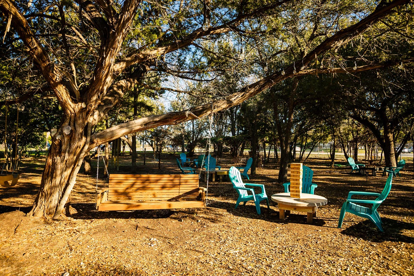 outdoor seating tables and swing