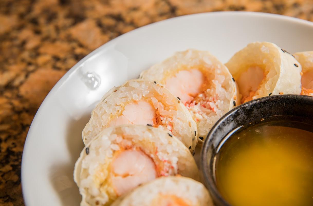 Sushi and dip closeup