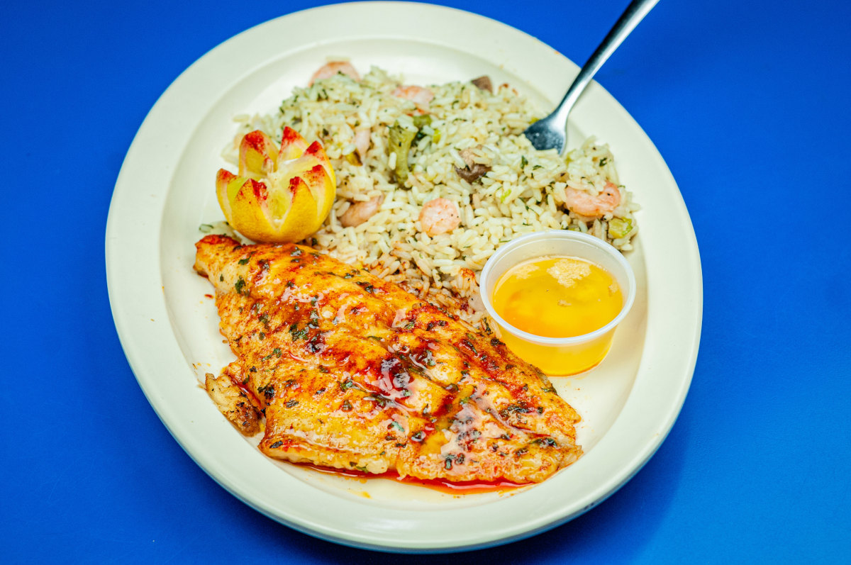 broiled catfish, shrimp rice