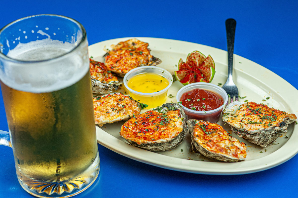 oysters rancheros , beer