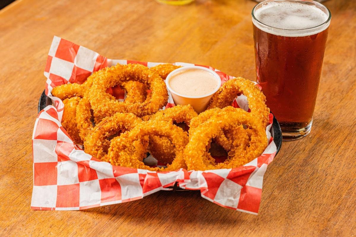 Onion rings, dip, beer on the side