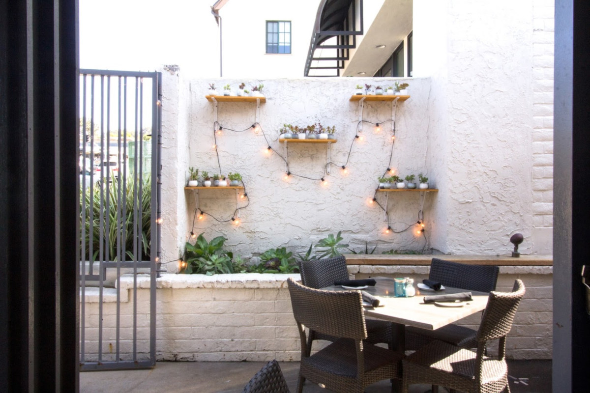 Restaurant exterior, table for four, restaurant decorations