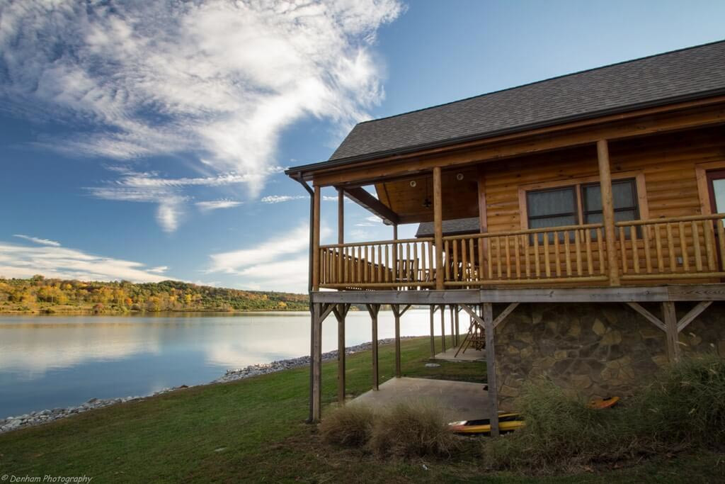 Cabin exterior, lakeside view