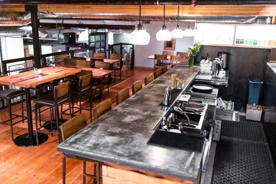 Interior Mezzanine, bar, and tables