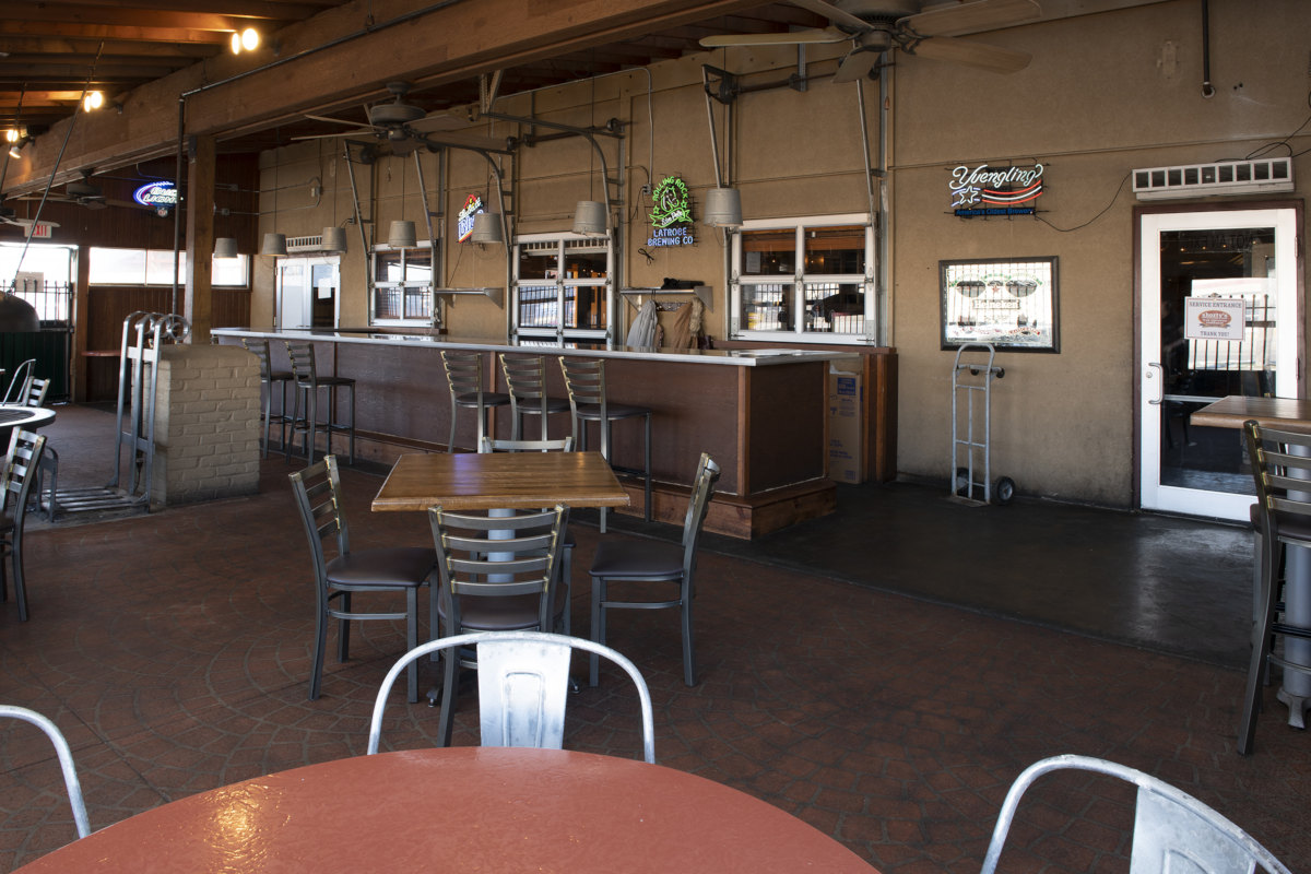 Interior, bar area in the back