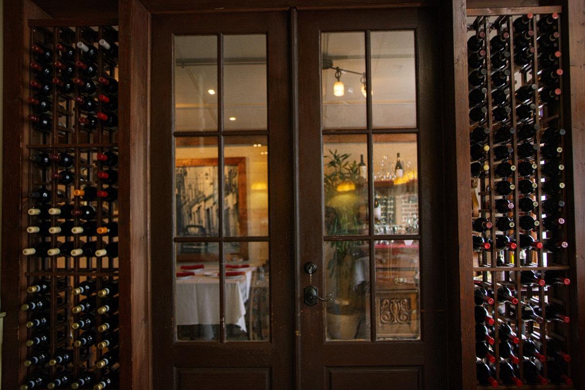 Interior, wine shelves