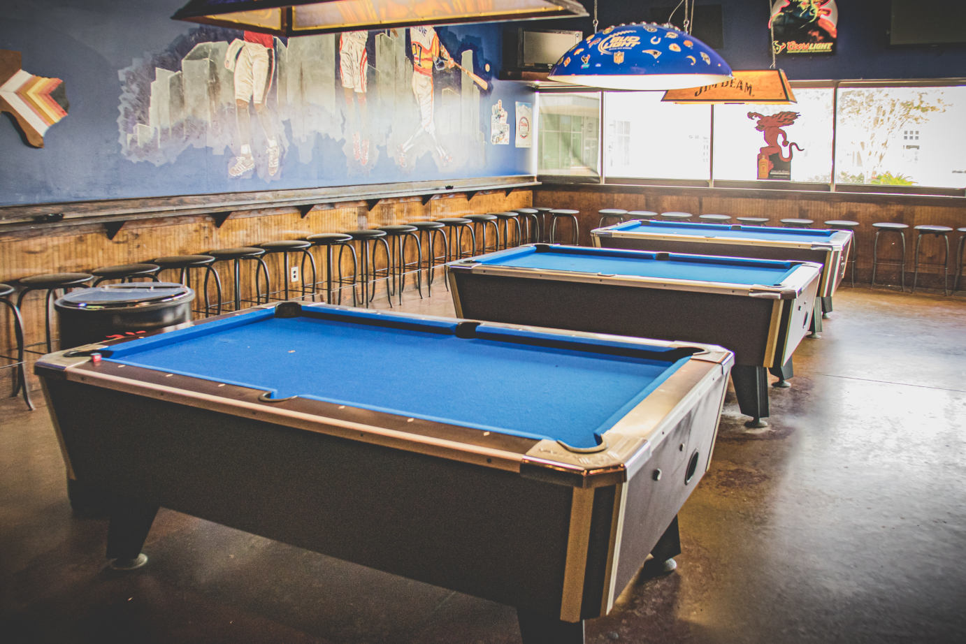 Interior, pool tables