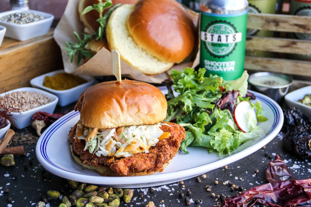 dirty bird hamburger, salad