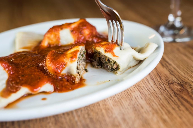 Dumplings with tomato sauce
