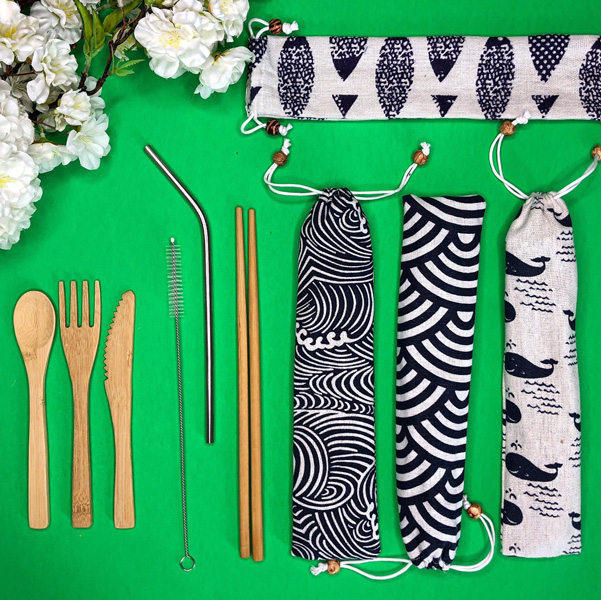 reusable straws, chopsticks, and cutlery