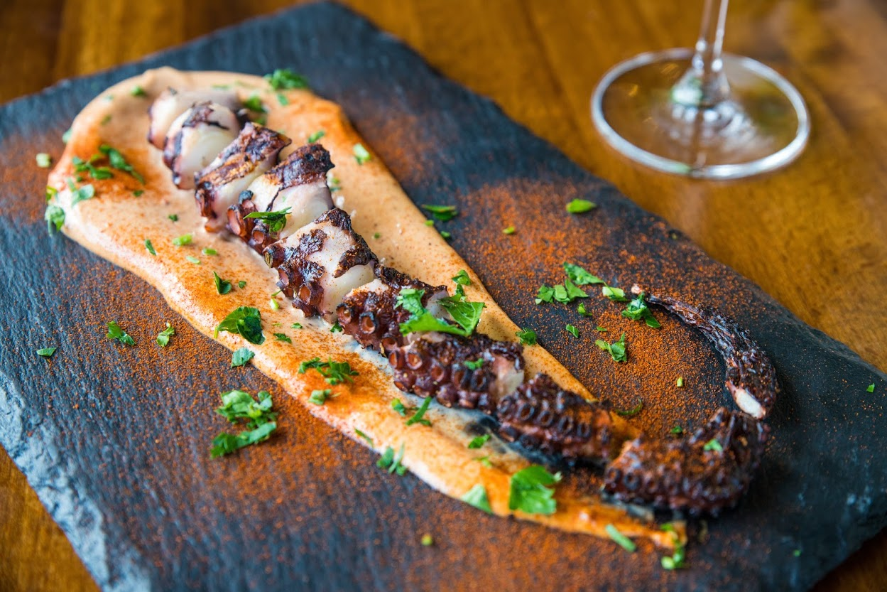 Grilled octopus with chipotle , paprika and parsley