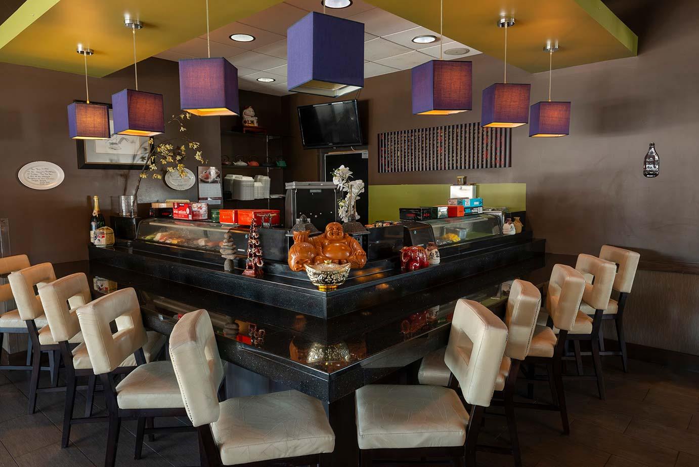 Restaurant interior with a bar