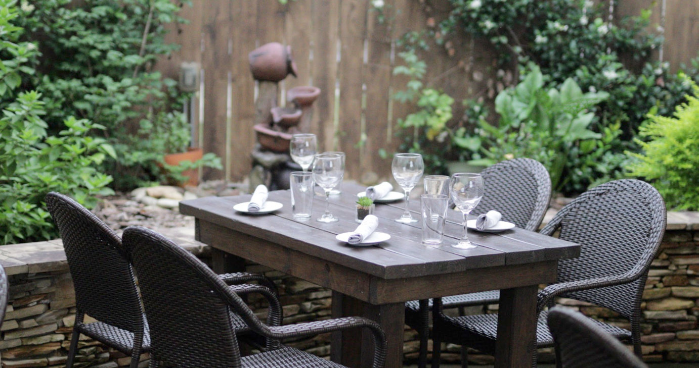 Outdoor, table with wine glasses
