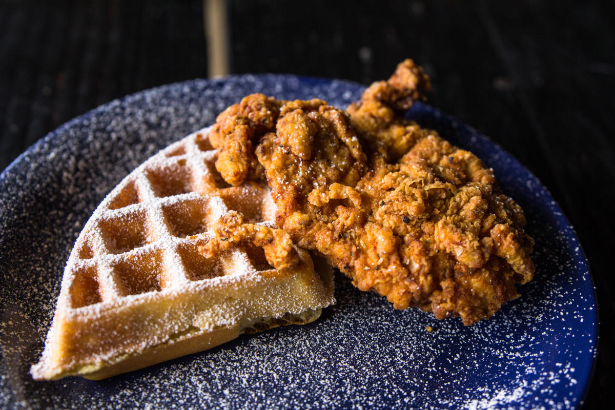 waffle with fried chicken