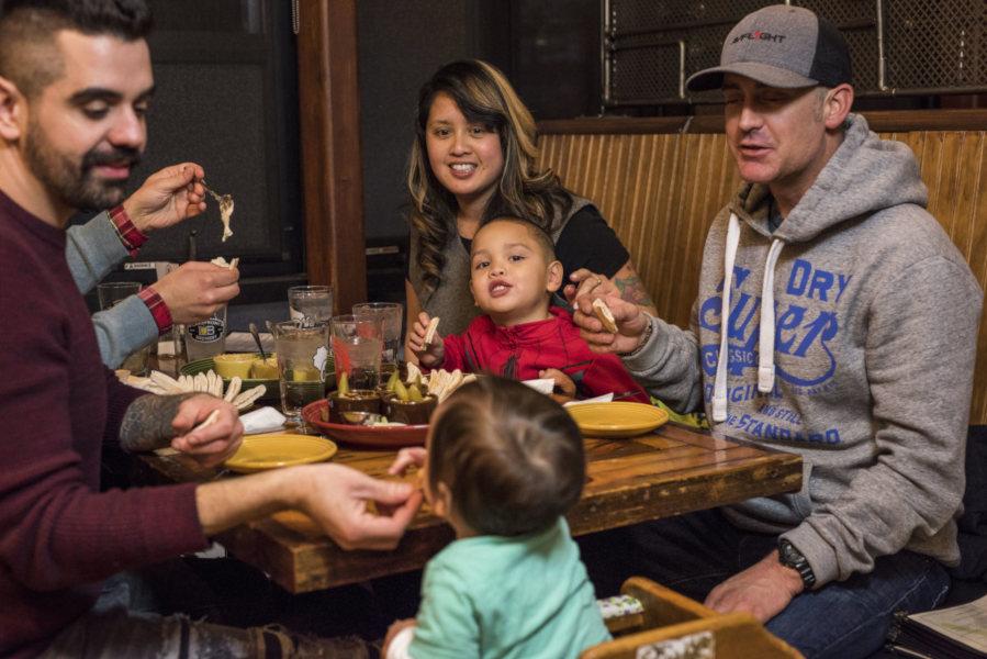 Guests enjoying restaurant food