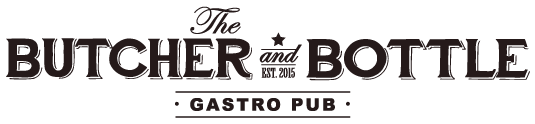 The Butcher and Bottle logo scroll