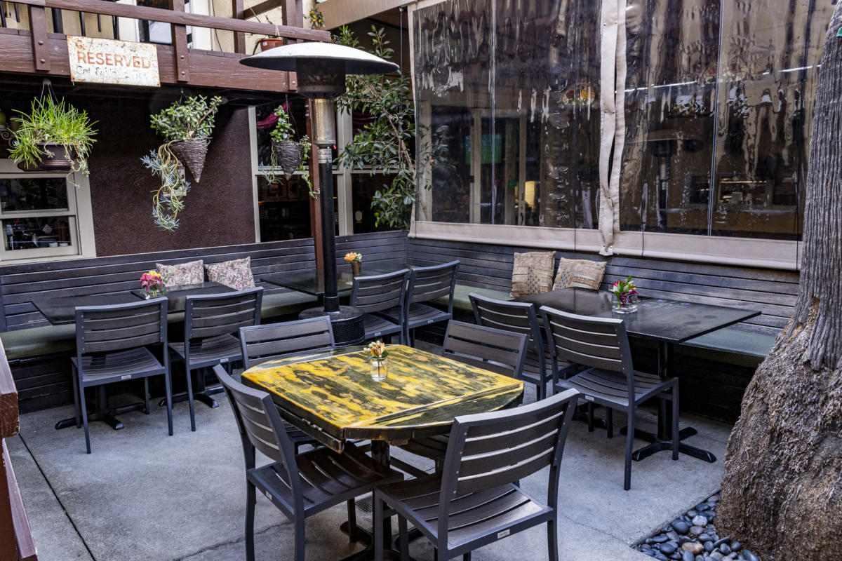 Restaurant exterior, tables outside