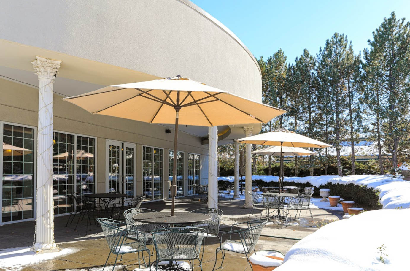 Patio, tables and parasols
