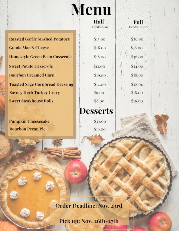 Thanksgiving menu flyer