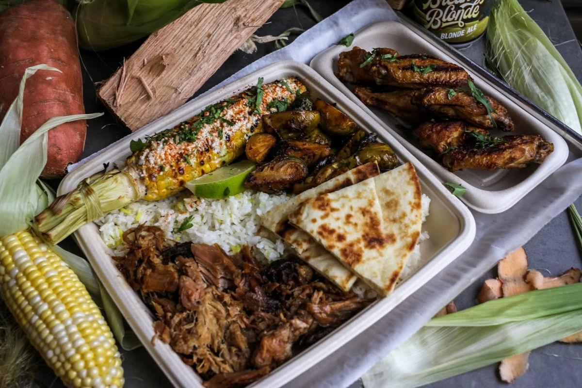 Corn, rice, pita, sauces, salad and meat