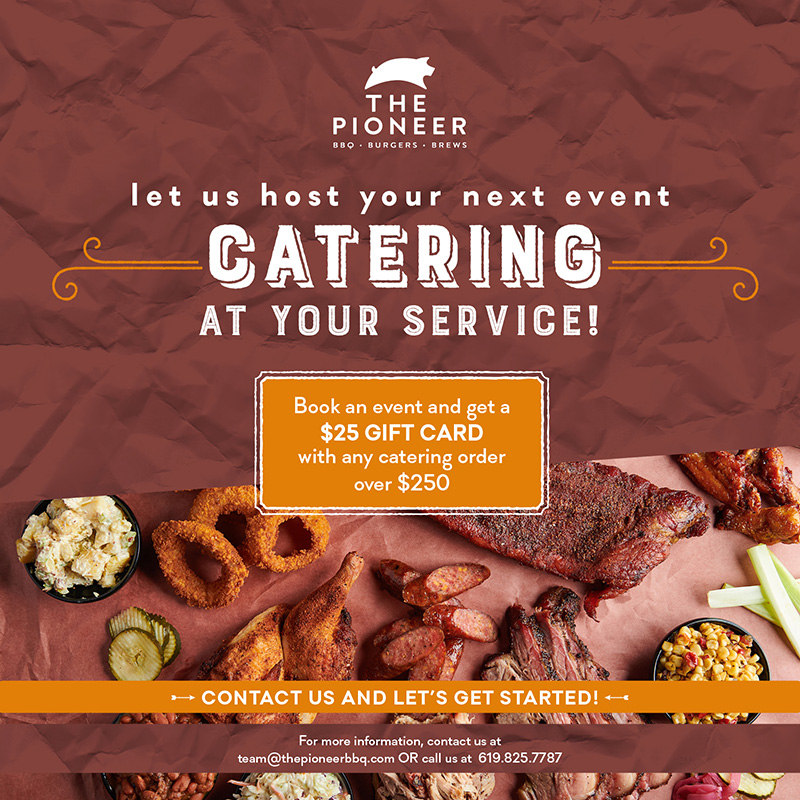 the pioneer gift cards catering flyer