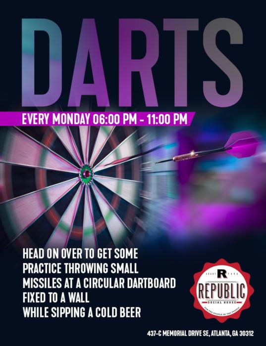Darts every Monday flyer