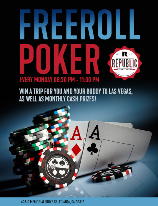 freeroll poker every Monday flyer