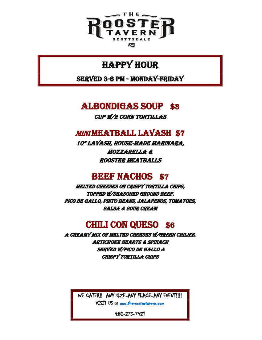 The Rooster Tavern Happy Hour Menu