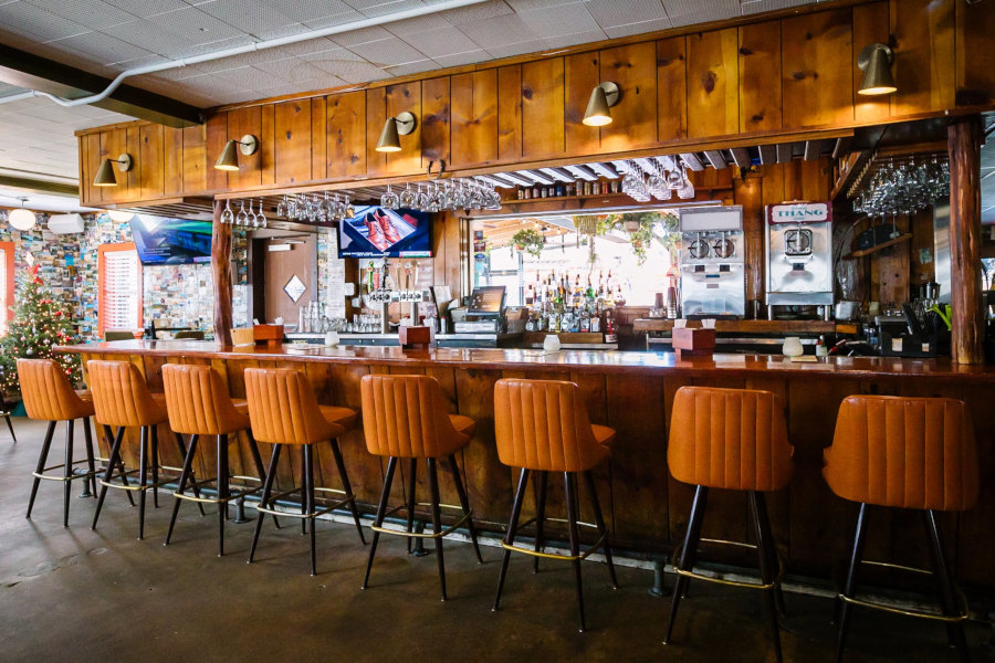 interior, wooden bar, glasses and bottles