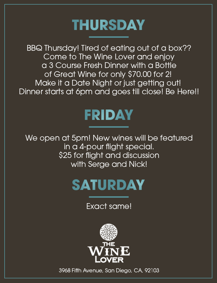 the wine lover specials